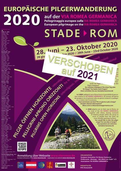 Plakat - Europäische Pilgerwanderung auf der VIA ROMEA GERMANICA - verschoben