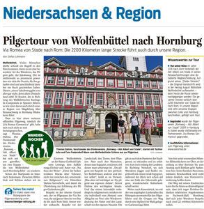 Pressebericht - Pilgertour von Wolfenbüttel nach Hornburg