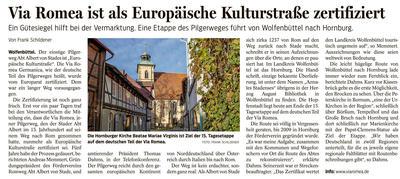 Pressebericht - Via Romea ist als Europäische Kulturstraße zertifiziert