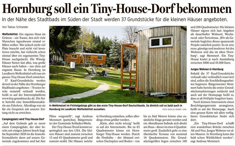 Pressebericht - Hornburg soll ein Tiny-House-Dorf bekommen